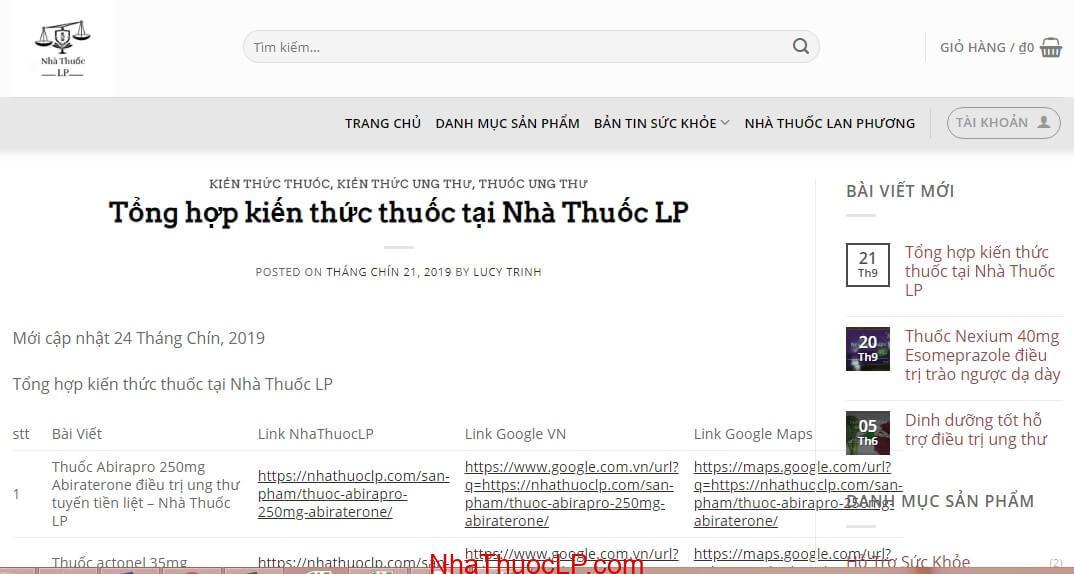 Tong hop kien thuc thuoc tai Nha Thuoc LP.
